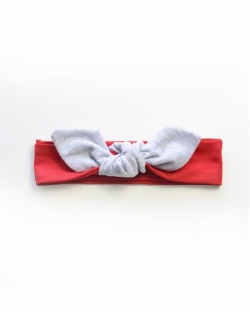 Headband Lili szary na czerwonym