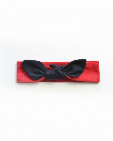 Headband Lili czarny na czerwonym
