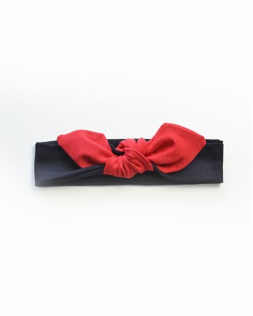 Headband Lili czerwony na czarnym