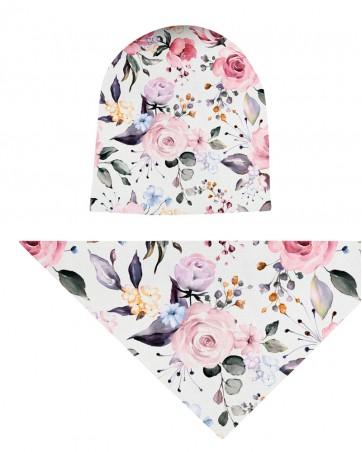Komplet czapka i chusta dla dziewczynki LILILO Różowy Ogród
