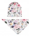 Komplet czapka i chusta dla dziewczynki LILILO Kolorowe Różowy Ogród