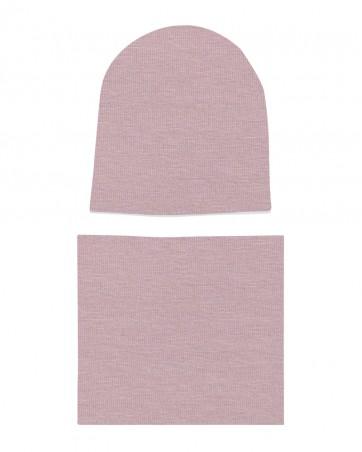 Komplet czapka i komin dla dziewczynki LILILO Brudy Róż