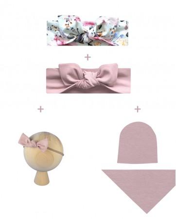 Wyprawka dla noworodka - opaska Różowy Ogrów, opaska Brudny Róż, opaska na gumce Brudny Róż, czapka + chusta Brudny Róż