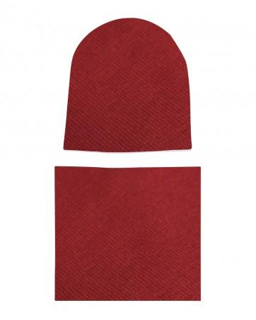 Komplet czapka i komin dla chłopca LILILO Bordo