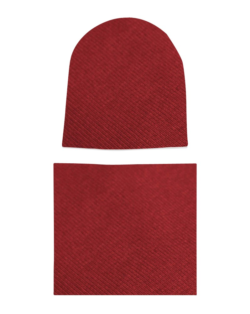 Komplet czapka i komin Bordo