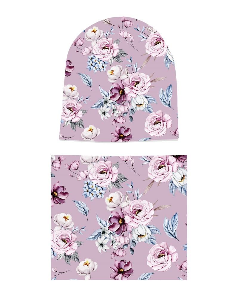 Komplet czapka i komin dla dziewczynki LILILO Orchidea