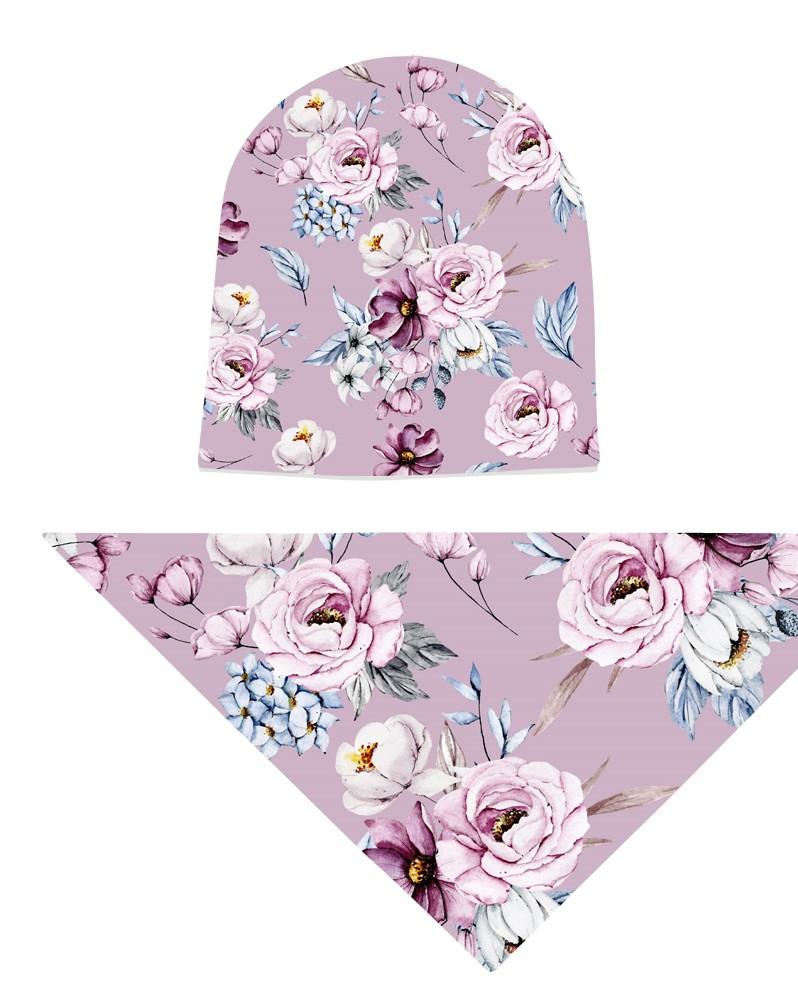 Komplet czapka i chusta dla dziewczynki LILILO Orchidea