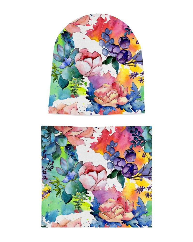 Komplet czapka i komin dla dziewczynki LILILO Kolorowy Ogród
