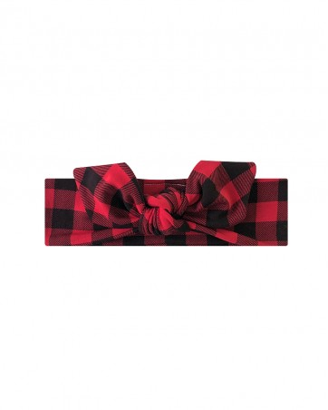 Opaska dla dziewczynki LILILO Świąteczna krata czerwona