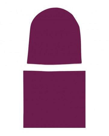 Komplet czapka i komin dla dziewczynki LILILO Malinowy