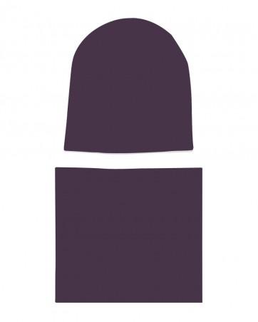 Komplet czapka i komin dla dziewczynki LILILO Jagodowy