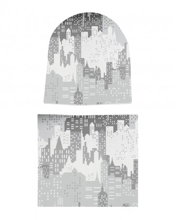 Komplet czapka i komin dla chłopca City Gray