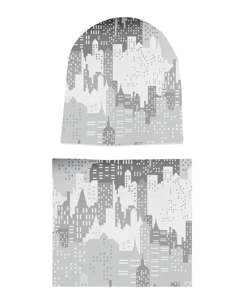 Komplet czapka i komin dla chłopca LILILO City Gray