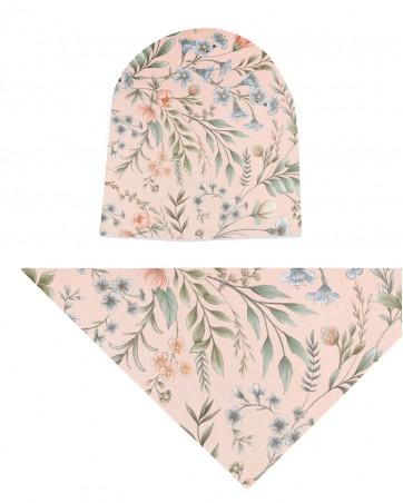 Komplet czapka i chusta dla dziewczynki LILILO Vintage Roses