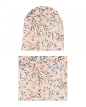 Komplet czapka i komin dla dziewczynki LILILO Vintage Roses