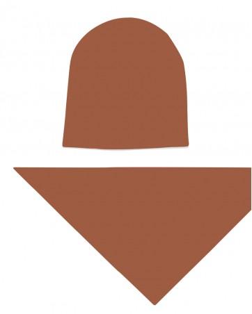 Komplet czapka i chusta dla dziewczynki LILILO Karmel