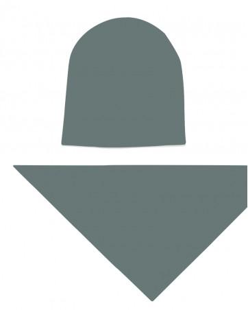 Komplet czapka i chusta dla dziewczynki LILILO Przydymiona Zieleń
