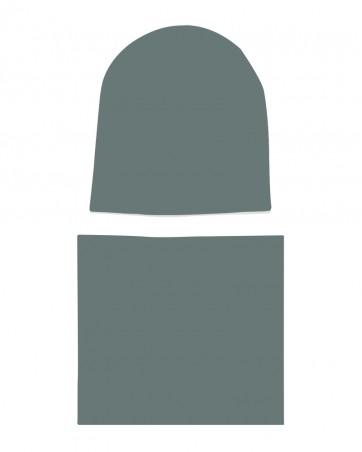 Komplet czapka i komin dla dziewczynki LILILO Przydymiona Zieleń