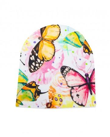 Czapka Motyle na Kwiatach