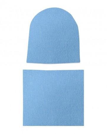 Komplet czapka i komin Błękitny