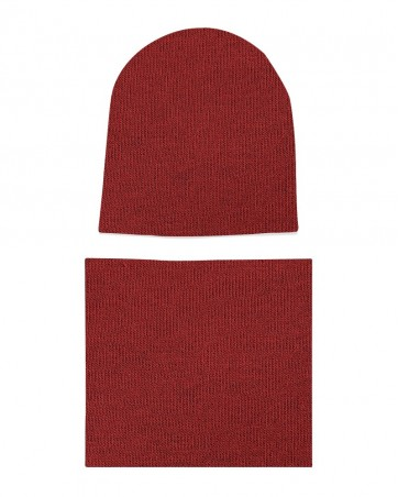 Komplet czapka i komin Bordowy