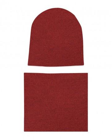 Komplet czapka i komin dla dziewczynki LILILO Bordowy