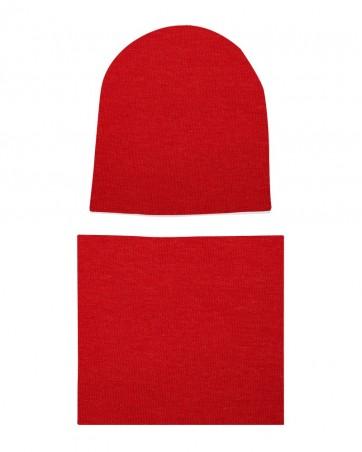 Komplet czapka i komin Czerwony