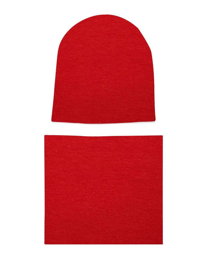 Komplet czapka i komin dla dziewczynki LILILO Czerwony