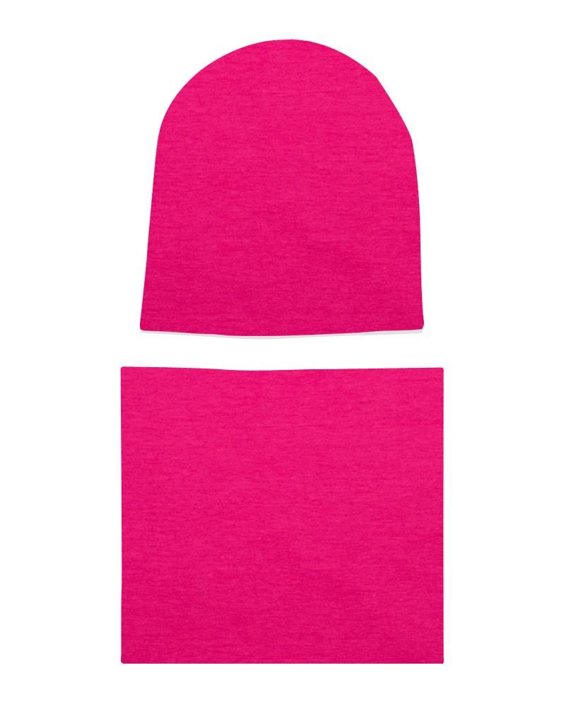 Komplet czapka i komin dla dziewczynki LILILO Fuksja