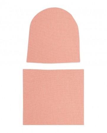 Komplet czapka i komin dla dziewczynki LILILO Brzoskwinia