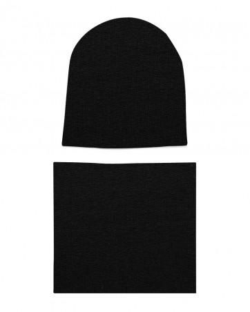 Komplet czapka i komin Czarny