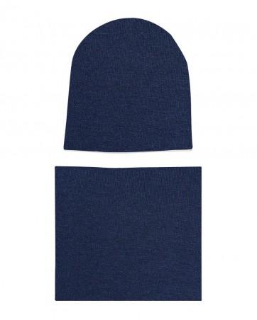 Komplet czapka i komin Granatowy