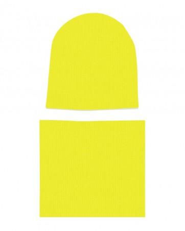 Komplet czapka i komin Żółty