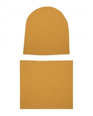 Komplet czapka i komin Musztardowy