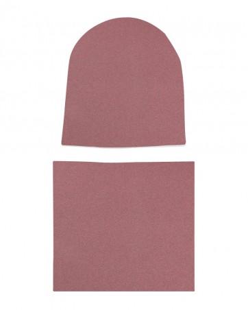 Komplet czapka i komin Różowy Melanż