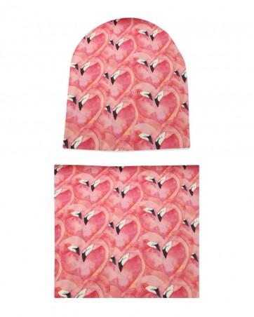 Komplet czapka i komin Zakochane Flamingi