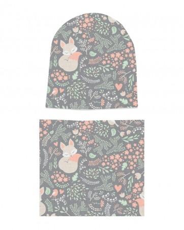 Komplet czapka i komin Wiosenne Kwiatki