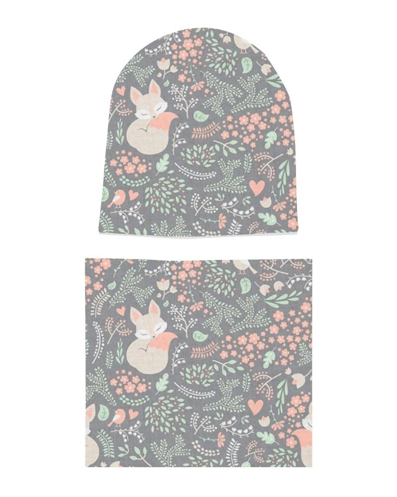 Komplet czapka i komin dla dziewczynki LILILO Wiosenne Kwiatki