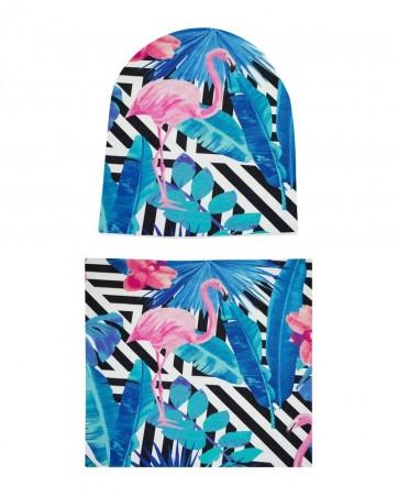 Komplet czapka i komin Wakacyjne Flamingi