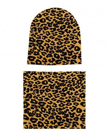 Komplet czapka i komin dla dziewczynki LILILO Panterka na Musztardzie