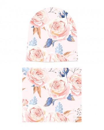 Komplet czapka i komin dla dziewczynki LILILO Pudrowe Róże