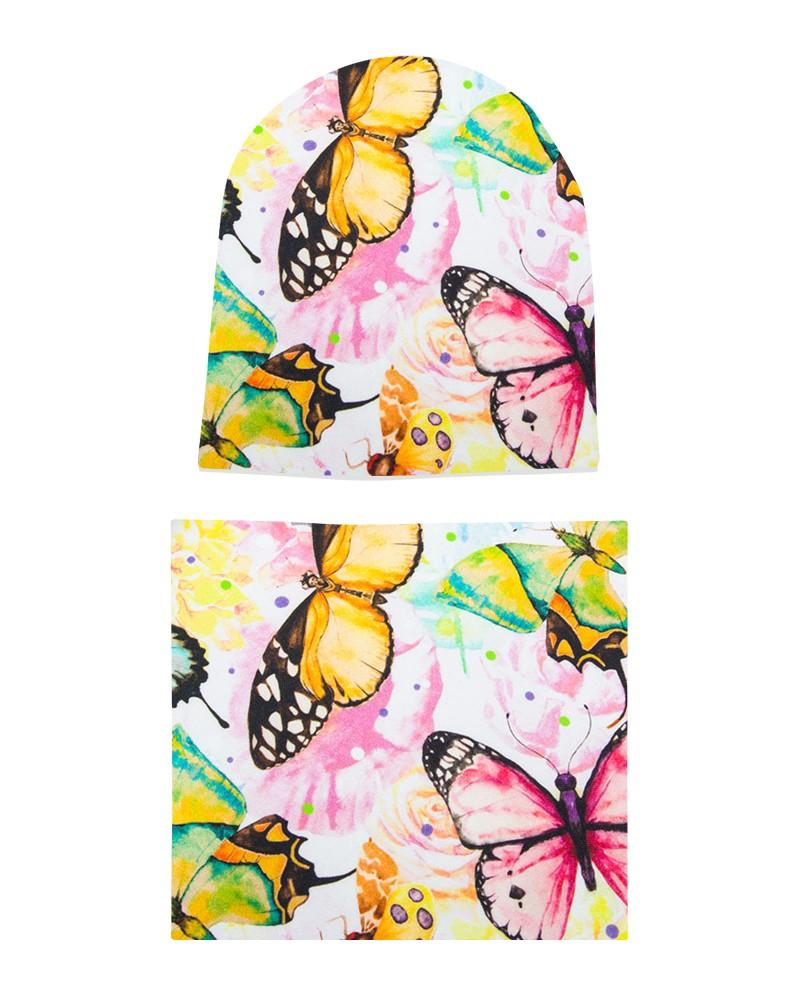 Komplet czapka i komin dla dziewczynki LILILO Kolorowe Motyle