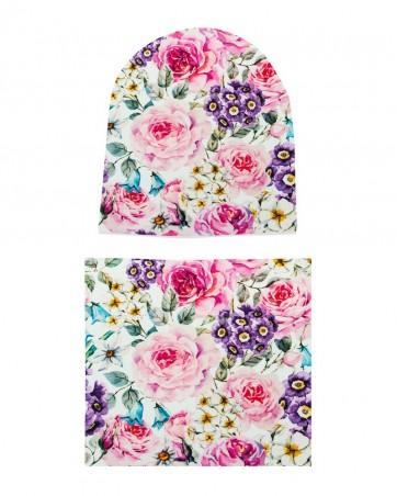 Komplet czapka i komin dla dziewczynki LILILO Malowane Róże