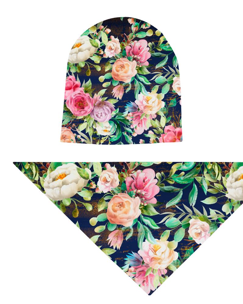 Komplet czapka i chusta dla dziewczynki LILILO Peonia na Granacie