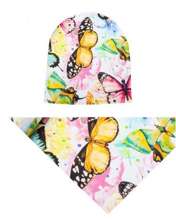 Komplet czapka i chusta dla dziewczynki LILILO Kolorowe Motyle