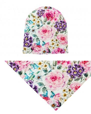 Komplet czapka i chusta dla dziewczynki LILILO Malowane Róże