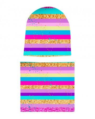 Komplet czapka i komin dla dziewczynki LILILO Tęcza