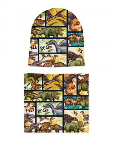 Komplet czapka i komin Dinozaury