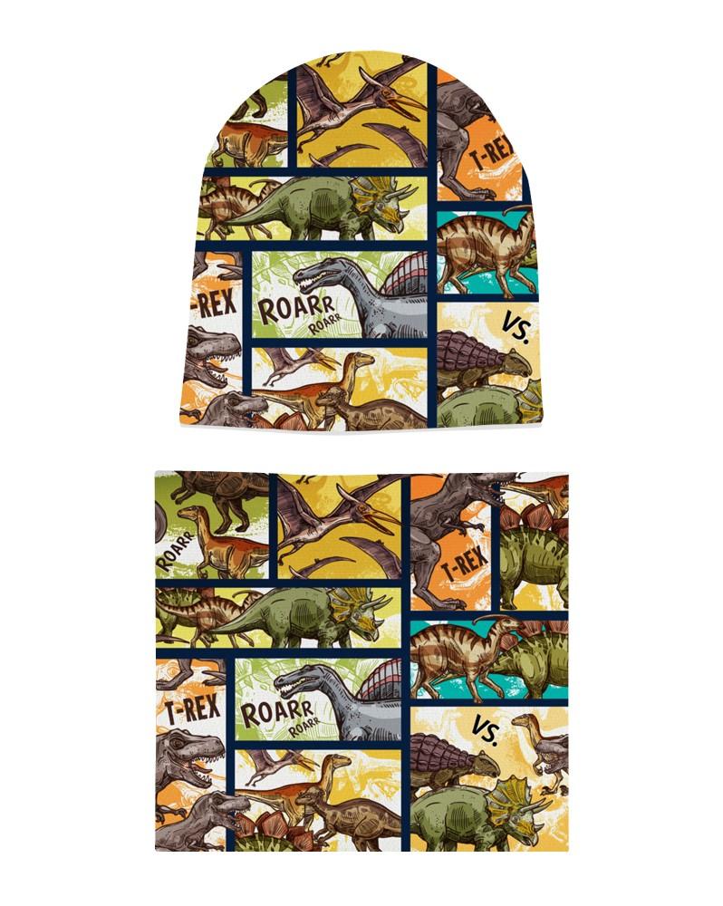 Komplet czapka i komin dla chłopca LILILO Dinozaury