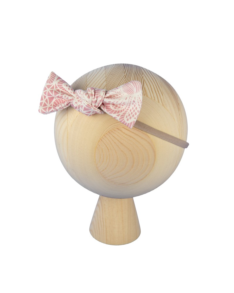 Opaska na gumce Różowa Koronka